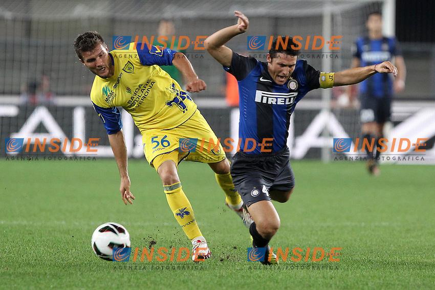 "Perparin Hetemaj Chievo Javier Zanetti Inter.Verona 26/09/2012 Stadio ""Bentegodi"".Football Calcio Serie A 2012/13.Chievo v Inter.Foto Insidefoto Paolo Nucci."
