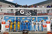 #96 Turner Motorsport BMW M6 GT3, GTD: Bill Auberlen, Robby Foley, Dillon Machavern, #86 Meyer Shank Racing w/ Curb-Agajanian Acura NSX GT3, GTD: Mario Farnbacher, Trent Hindman, Justin Marks, #63 Scuderia Corsa Ferrari 488 GT3, GTD: Cooper MacNeil, Toni Vilander, Jeff Westphal, podium