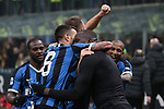 Romelu Lukaku of Inter celebrates with team mates after scoring to give the side a 4-2 lead during the Serie A match at Giuseppe Meazza, Milan. Picture date: 9th February 2020. Picture credit should read: Jonathan Moscrop/Sportimage