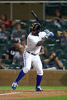 Salt River Rafters outfielder Roemon Fields (8) at bat during an Arizona Fall League game against the Scottsdale Scorpions on October 13, 2015 at Salt River Fields at Talking Stick in Scottsdale, Arizona.  Salt River defeated Scottsdale 5-3.  (Mike Janes/Four Seam Images)