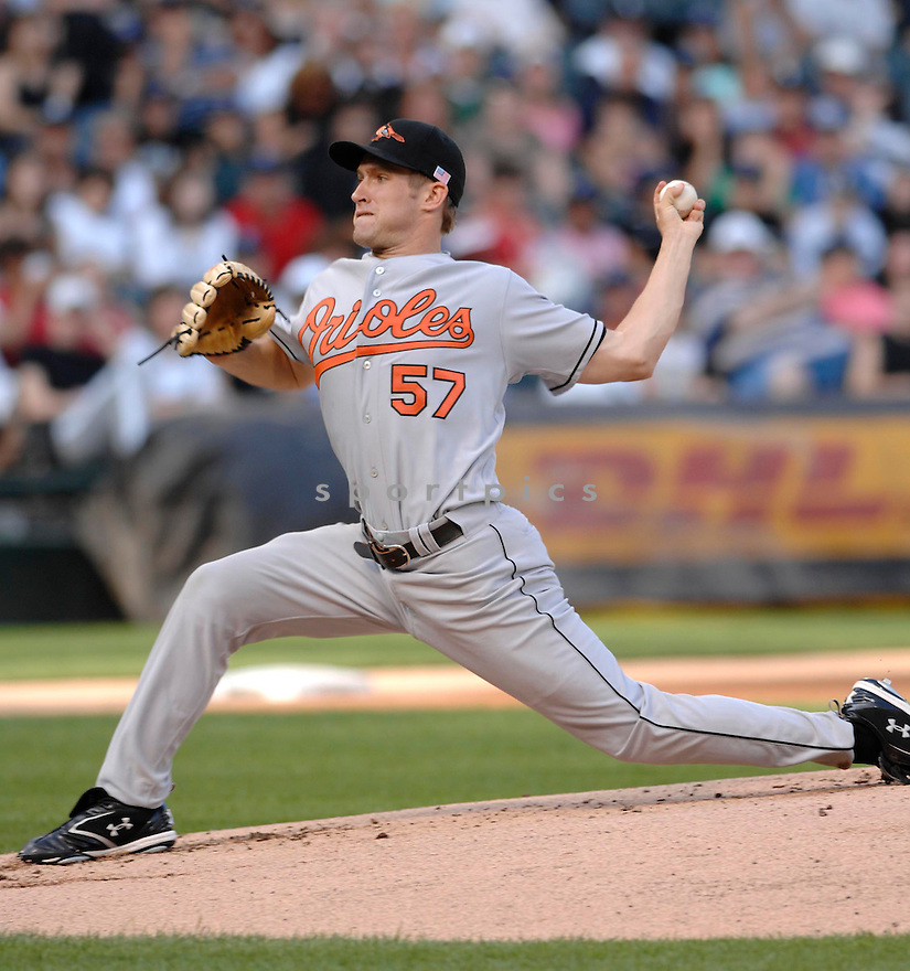 GARRETT OLSON, of the  Baltimore Orioles, in action during the Orioles game against the Chicago White Sox  in Chicago, IL, on July 4,  2007...Orioles win 9-6...DAVID DUROCHIK / SPORTPICS.