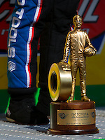 Jun 7, 2015; Englishtown, NJ, USA; Detailed view of the Wally trophy of NHRA top fuel driver Antron Brown after winning the Summernationals at Old Bridge Township Raceway Park. Mandatory Credit: Mark J. Rebilas-