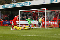 Ollie Palmer of Crawley Town scores the first goal for his team and celebrates to make it 1-1 during Crawley Town vs Fleetwood Town, Emirates FA Cup Football at Broadfield Stadium on 1st December 2019
