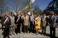 """May 1992 File Photo - Montreal (Qc) CANADA - Ceremonies of Montreal 350th anniversary :Jean Dore, mayor  of Montreal and  mayors of other ''Montreal"""" cities posing in front of the Olympic stadium."""
