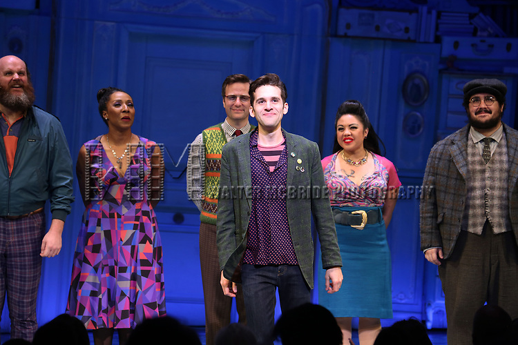 Adam Chanler-Berat and cast during the Broadway Opening Night Performance Curtain Call for 'Amelie' at the Walter Kerr Theatre on April 3, 2017 in New York City