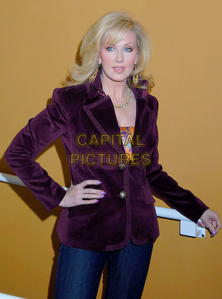 """MORGAN FAIRCHILD.The Screen Actors Guild Foundation and Zimand Entertainment host prize-winning ceremony for Los Angeles Children's """"Love Equals"""" writing contest held at the Beverly Center, 8th Floor Food Court, ,Los Angeles, USA, 14 February 2007..half length purple jacket hand on hip.CAP/ADM/GB.©Gary Boas/AdMedia/Capital Pictures."""
