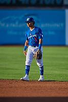 Jorbit Vivas (9) second baseman of the Ogden Raptors on defense against the Orem Owlz at Lindquist Field on September 3, 2019 in Ogden, Utah. The Raptors defeated the Owlz 12-0. (Stephen Smith/Four Seam Images)