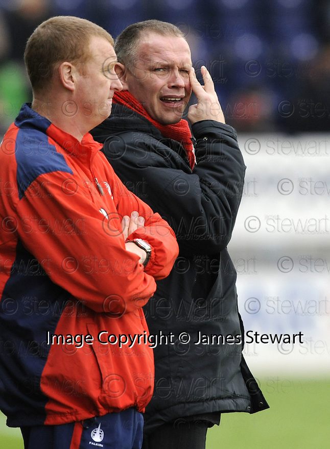 21/02/2009  Copyright Pic: James Stewart.File Name : sct_jspa16_falkirk-v_hamilton.JOHN HUGHES DOESN'T LOOK TOO HAPPY AS FALKIRK GO DOWN 2-1 TO HAMILTON. James Stewart Photo Agency 19 Carronlea Drive, Falkirk. FK2 8DN      Vat Reg No. 607 6932 25.Studio      : +44 (0)1324 611191 .Mobile      : +44 (0)7721 416997.E-mail  :  jim@jspa.co.uk.If you require further information then contact Jim Stewart on any of the numbers above.........