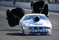 Sept. 29, 2012; Madison, IL, USA: NHRA pro stock driver Larry Morgan during qualifying for the Midwest Nationals at Gateway Motorsports Park. Mandatory Credit: Mark J. Rebilas-