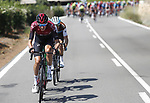 Wout Poels (NED) Team Ineos, Quentin Jauregui (FRA) AG2R La Mondiale and Domingos Goncalves (POR) Caja Rural-Seguros RGA escape during Stage 7 of La Vuelta 2019 running 183.2km from Onda to Mas de la Costa, Spain. 30th August 2019.<br /> Picture: Luis Angel Gomez/Photogomezsport | Cyclefile<br /> <br /> All photos usage must carry mandatory copyright credit (© Cyclefile | Luis Angel Gomez/Photogomezsport)