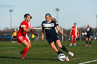 Sky Blue FC defender Kendall Johnson (5) is marked by Western New York Flash midfielder Veronica Perez (17). Sky Blue FC defeated the Western New York Flash 1-0 during a National Women's Soccer League (NWSL) match at Yurcak Field in Piscataway, NJ, on April 14, 2013.