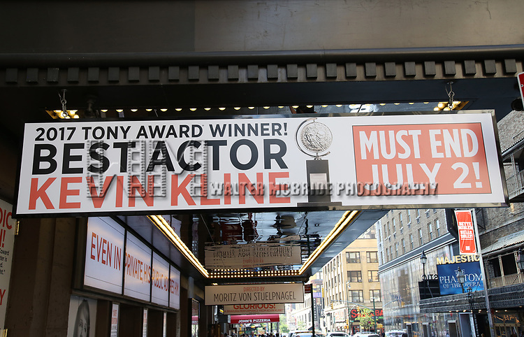 Tony Award flare for Kevin Kline at the 'Present Laughter' Marquee at the St. James Theatre Theatre on June 13, 2017 in New York City.
