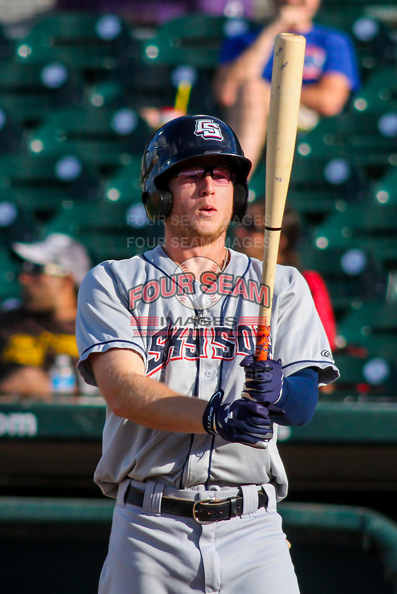 Colorado Springs Sky Sox outfielder Brett Phillips (8) at bat during game one of a Pacific Coast League doubleheader against the Iowa Cubs on August 17, 2017 at Principal Park in Des Moines, Iowa. Iowa defeated Colorado Springs 1-0. (Brad Krause/Four Seam Images)