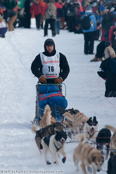 Musher # 16 Ramey Smyth at the Restart of the 2009 Iditarod in Willow Alaska