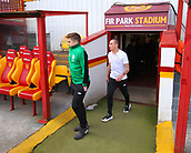 18th March 2018, Fir Park, Motherwell, Scotland; Scottish Premiership football, Motherwell versus Celtic;  James Forrest and Scott Brown of Celtic arrive to inspect the pitch