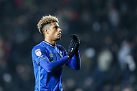 Lyle Taylor of AFC Wimbledon applauds the travelling fans after the Sky Bet League 1 match between MK Dons and AFC Wimbledon at stadium:mk, Milton Keynes, England on 13 January 2018. Photo by David Horn.