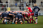 24th March 2018, AJ Bell Stadium, Salford, England; Aviva Premiership rugby, Sale Sharks versus Worcester Warriors; Jonny Arr of Worcester Warriors puts into the scrum
