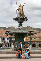 Peru, Cusco.  Inca King Pachacutec on Fountain in the Plaza de Armas.