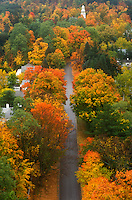 aerial, fall, Bennington, VT, Vermont, An aerial view of the town of Bennington surrounded by colorful foliage in autumn from the Bennington Battle Monument.