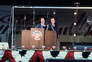 New York, NY. June 1st, 1976. Reverend Moon gathered 40,000 people at the free show he organized at the Yankee Staduim to celebrate the US Bicentennial.. The opposition to his Korean sect came to picket.