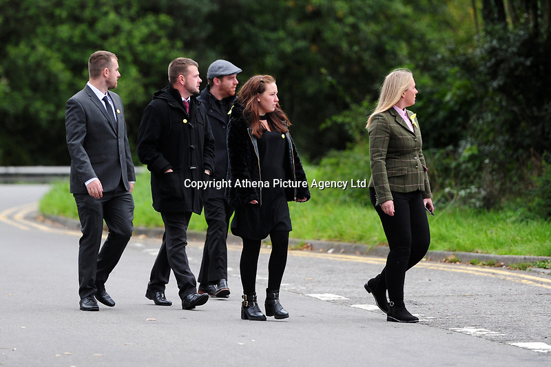 """Pictured: Mourners arrives at Maragam Crematorium in Port Talbot, Wales, UK. Monday 08 October 218<br /> Re: A grieving father will mourners on horseback at the funeral of his """"wonderful"""" son who killed himself after being bullied at school.<br /> Talented young horse rider Bradley John, 14, was found hanged in the school toilets by his younger sister Danielle.<br /> Their father, farmer Byron John, 53, asked the local riding community to wear their smart hunting gear at Bradley's funeral.<br /> Police are investigating Bradley's death at the 500-pupils St John Lloyd Roman Catholic school in Llanelli, South Wales.<br /> Bradley's family claim he had been bullied for two years after being diagnosed with Attention Deficit Hyperactivity Disorder.<br /> He went missing during lessons and was found in the toilet cubicle by his sister Danielle, 12."""