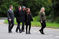 Pictured: Mourners arrives at Maragam Crematorium in Port Talbot, Wales, UK. Monday 08 October 218<br /> Re: A grieving father will mourners on horseback at the funeral of his &ldquo;wonderful&rdquo; son who killed himself after being bullied at school.<br /> Talented young horse rider Bradley John, 14, was found hanged in the school toilets by his younger sister Danielle.<br /> Their father, farmer Byron John, 53, asked the local riding community to wear their smart hunting gear at Bradley&rsquo;s funeral.<br /> Police are investigating Bradley&rsquo;s death at the 500-pupils St John Lloyd Roman Catholic school in Llanelli, South Wales.<br /> Bradley&rsquo;s family claim he had been bullied for two years after being diagnosed with Attention Deficit Hyperactivity Disorder.<br /> He went missing during lessons and was found in the toilet cubicle by his sister Danielle, 12.