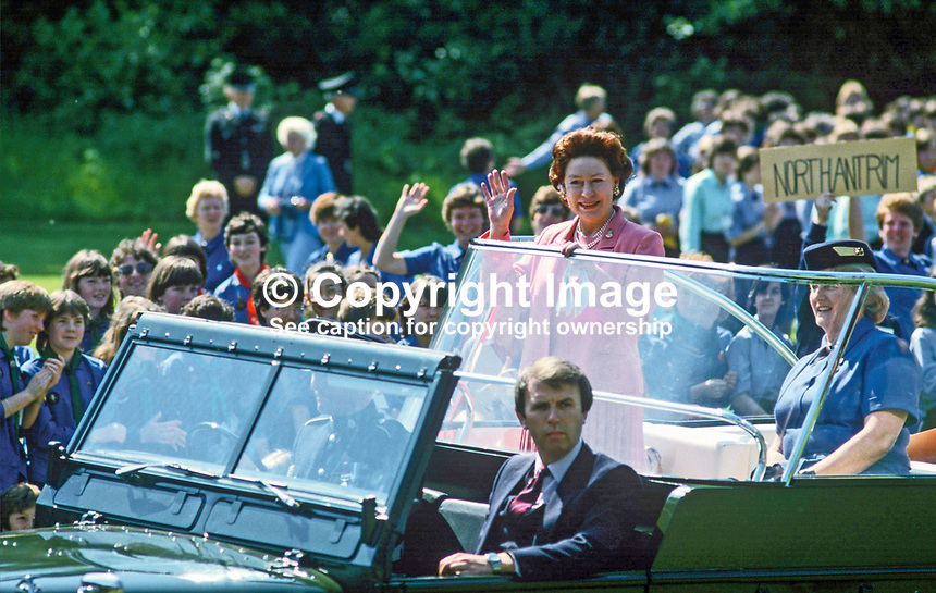 HRH, Princess Margaret, on a two day Royal Visit to N Ireland was the guest of Guides and Brownies at Lorne, Craigavad, near Belfast, gets an open-top tour of the 21 acre estate which offers a wide range of training and recreational facilities for the movement. Princess Margaret is accompanied by Mrs Eva Eves, the Chief Commissioner. 19840075a<br /> <br /> Copyright Image from Victor Patterson, 54 Dorchester Park, Belfast, UK, BT9 6RJ<br /> <br /> t: +44 28 90661296<br /> m: +44 7802 353836<br /> vm: +44 20 88167153<br /> e1: victorpatterson@me.com<br /> e2: victorpatterson@gmail.com<br /> <br /> For my Terms and Conditions of Use go to www.victorpatterson.com