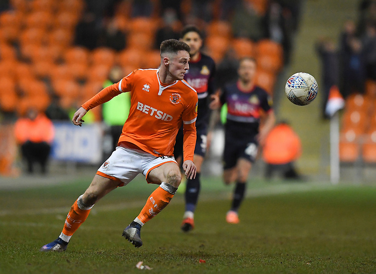 Blackpool's Jordan Thompson<br /> <br /> Photographer Dave Howarth/CameraSport<br /> <br /> The EFL Sky Bet League One - Blackpool v Doncaster Rovers - Tuesday 12th March 2019 - Bloomfield Road - Blackpool<br /> <br /> World Copyright © 2019 CameraSport. All rights reserved. 43 Linden Ave. Countesthorpe. Leicester. England. LE8 5PG - Tel: +44 (0) 116 277 4147 - admin@camerasport.com - www.camerasport.com