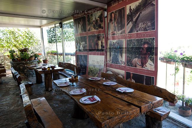 Fishtë (Albania) - Ristorante Mrizi i Zanave. Il ristorant. La sale esterna. A parete si vedono le foto dei produttori che riforniscono Altin
