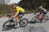 14th March 2020, Paris to Nice cycling tour, final day, stage 7;   SCHACHMANN Maximilian (GER) of BORA - HANSGROHE with the yellow jersey in action during stage 7 of the 78th edition of the Paris - Nice cycling race, a stage of 166,5km with start in Nice and finish in Valdeblore La Colmiane on March 14, 2020 in Valdeblore La Colmiane, France