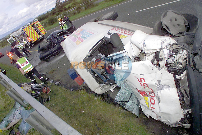 The scene of the accident on the M1 motorway north of Drogheda close to Dunleer where three people ware killed in the collision with a white van travelling north...Picture Fran Caffrey Newsfile.Story Elaine Keogh..This Picture is sent to you by:..Newsfile Ltd.The View, Millmount Abbey, Drogheda, Co Louth, Ireland..Tel: +353419871240.Fax: +353419871260.GSM: +353862500958.ISDN: +353419871010.email: pictures@newsfile.ie.www.newsfile.ie