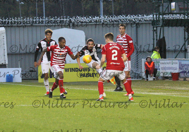Ryan Edwards clearing in the St Mirren v Hamilton Academical Scottish Professional Football League Ladbrokes Premiership match played at the Simple Digital Arena, Paisley on 1.12.18.