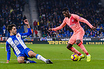 Ousmane Dembele of FC Barcelona (R) dribbles Didac Vila of RCD Espanyol (L) during the La Liga 2018-19 match between RDC Espanyol and FC Barcelona at Camp Nou on 08 December 2018 in Barcelona, Spain. Photo by Vicens Gimenez / Power Sport Images