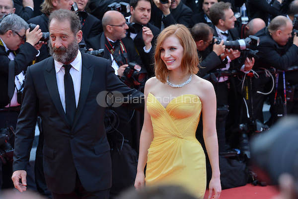 Vincent Lindon and Jessica Chastain at &quot;Cafe Society&quot; &amp; Opening Gala arrivals - The 69th Annual Cannes Film Festival, France on May 11, 2016.<br /> CAP/LAF<br /> &copy;Lafitte/Capital Pictures /MediaPunch ***NORTH AND SOUTH AMERICAN SALES ONLY***