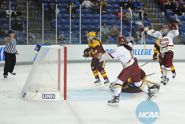 20 MAR 16:  Makenna Newkirk of Boston College celebrates after scoring the Eagles lone goal during the Division I Women's Ice Hockey Championship held at Whittemore Center Arena in Durham, NH. Minnesota defeated Boston College 3-1 for the national title.  Gil Talbot/NCAA Photos