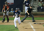 Reno Aces&rsquo; Jack Reinheimer hits a single down the first base line against the Sacramento River Cats at Greater Nevada Field in Reno, Nev., on Tuesday, July 26, 2016.  <br />Photo by Cathleen Allison