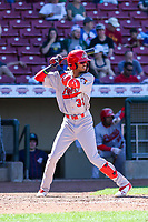 Peoria Chiefs shortstop Delvin Perez (32) at bat during a Midwest League game against the Cedar Rapids Kernels on May 26, 2019 at Perfect Game Field in Cedar Rapids, Iowa. Cedar Rapids defeated Peoria 14-1. (Brad Krause/Four Seam Images)