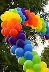 Rainbow balloons symbolizing the gay pride movement