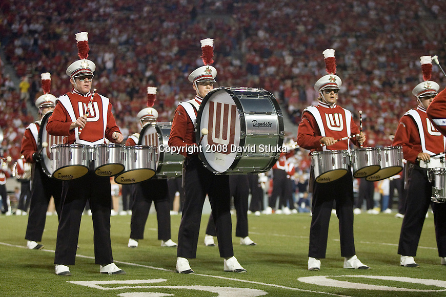 MADISON, WI - OCTOBER 11: The Wisconsin Badgers marching band plays prior to the game against the Penn State Nittany Lions at Camp Randall Stadium on October 11, 2008 in Madison, Wisconsin. The Nittany Lions beat the Badgers 48-7. (Photo by David Stluka)