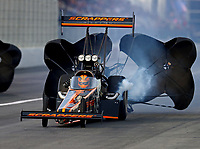 Feb 10, 2018; Pomona, CA, USA; NHRA top fuel driver Mike Salinas during qualifying for the Winternationals at Auto Club Raceway at Pomona. Mandatory Credit: Mark J. Rebilas-USA TODAY Sports