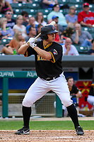 Indianapolis Indians catcher Ryan Lavarnway (23) at bat during an International League game against the Buffalo Bisons on July 28, 2018 at Victory Field in Indianapolis, Indiana. Indianapolis defeated Buffalo 6-4. (Brad Krause/Four Seam Images)