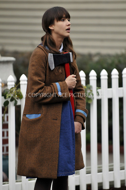 WWW.ACEPIXS.COM . . . . .  ....November 14 2008, New York City....Actress Jessica Alba was stalking the streets of the Bronx with an axe as she filmed a scene for her latest movie 'An invisible sign of my own' at City Island on November 14 2008 in New York City.....Please byline: AJ Sokalner - ACEPIXS.COM..... *** ***..Ace Pictures, Inc:  ..te: (646) 769 0430..e-mail: info@acepixs.com..web: http://www.acepixs.com
