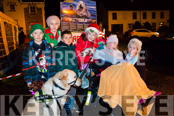 Killian and Aoife O'Brien, Michele Prestini, Aoibhe, Adah and Wendy Dignam and Adah's dog all enjoying the Christmas lights being turned on in Kenmare.