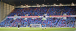 Rangers fans blue card protest against the board on 18 minutes