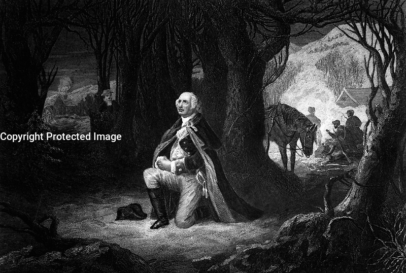 The Prayer at Valley Forge.  Gen. George Washington, winter 1777-78.  Copy of engraving by John C. McRae after Henry Brueckner, published 1866.  (George Washington Bicentennial Commission)<br />Exact Date Shot Unknown<br />NARA FILE #:  148-GW-201<br />WAR &amp; CONFLICT #:  34