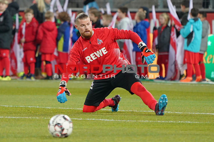 08.02.2019, RheinEnergieStadion, Koeln, GER, 2. FBL, 1.FC Koeln vs. FC St. Pauli,<br />  <br /> DFL regulations prohibit any use of photographs as image sequences and/or quasi-video<br /> <br /> im Bild / picture shows: <br /> Timo Horn Torwart (FC Koeln #1), beim Aufwaermen, Einzelaktion,  <br /> <br /> Foto &copy; nordphoto / Meuter