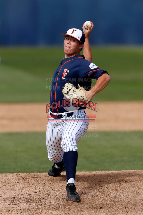 Kyle Murray #41 of the Cal State Fullerton Titans pitches against the Oregon Ducks at Goodwin Field on March 3, 2013 in Fullerton, California. (Larry Goren/Four Seam Images)