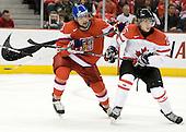 Radko Gudas (Czech Republic - 3), Chris Di Domenico (Canada - 25) - Team Canada defeated the Czech Republic 8-1 on the evening of Friday, December 26, 2008, at Scotiabank Place in Kanata (Ottawa), Ontario during the 2009 World Juniors U20 Championship.