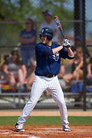 Southern Maine Huskies left fielder Nick DiBiase (11) at bat during a game against the St. Scholastica Saints on March 20, 2016 at Lake Myrtle Park in Auburndale, Florida.  Southern Maine defeated St. Scholastica 5-3.  (Mike Janes/Four Seam Images)