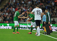 29.05.2013 London, England. Republic of Ireland captain Robbie Keane is substituted by Simon Cox during the International Friendly between England and Republic of Ireland from Wembley Stadium.